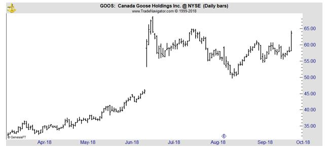 GOOS daily chart