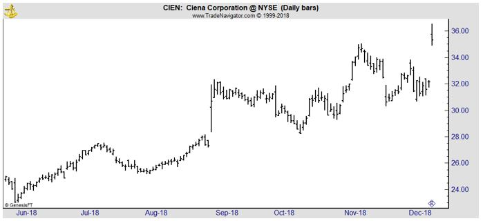 CIEN daily stock chart